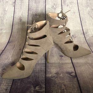 Microsuede zipper back high heel pumps